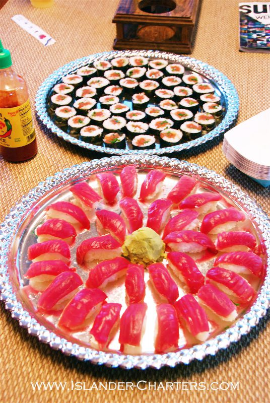 Appetizers on Islander Charters while diving with Great White Sharks off Guadalupe Island