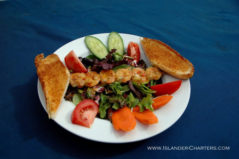 Lunch aboard Islander Charter Vessel, Great White Shark diving on Guadalupe Island
